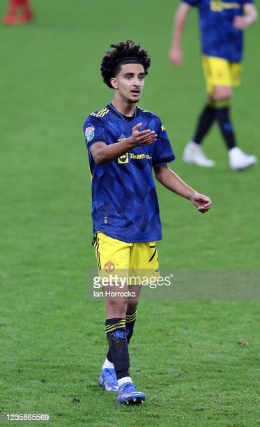 Zidane Iqbal of Manchester United during the Papa John's Trophy match between Sunderland and Manchester United at Stadium of Light on October 13,...