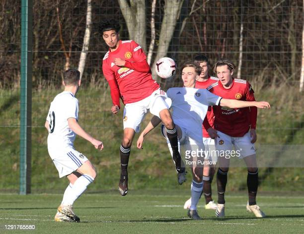 Zidane Iqbal of Manchester United U18s in action during the U18 Premier League match between Manchester United U18s and Leeds United U18s at Aon...
