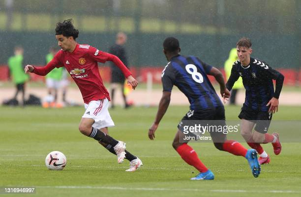 Zidane Iqbal of Manchester United U18s in action during the U18 Premier League match between Manchester United U18s and Middlesbrough U18s at Aon...