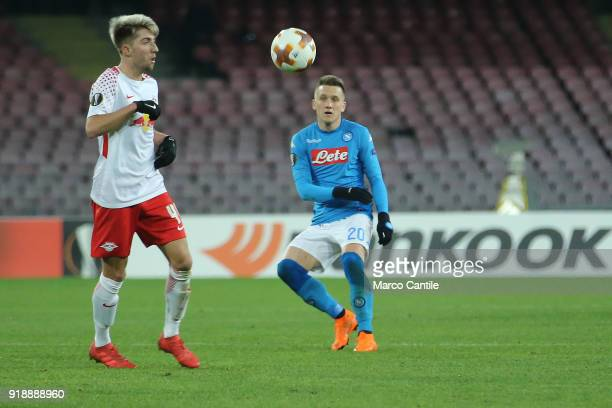 Zielinski and Kampl in action during football match between Napoli Lipsia Napoli lost the match 13 to Lipsia