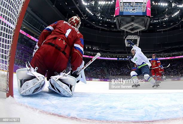 Ziga Jeglic of Slovenia celebrates scoring a goal in the second period against Semyon Varlamov of Russia during the Men's Ice Hockey Preliminary...