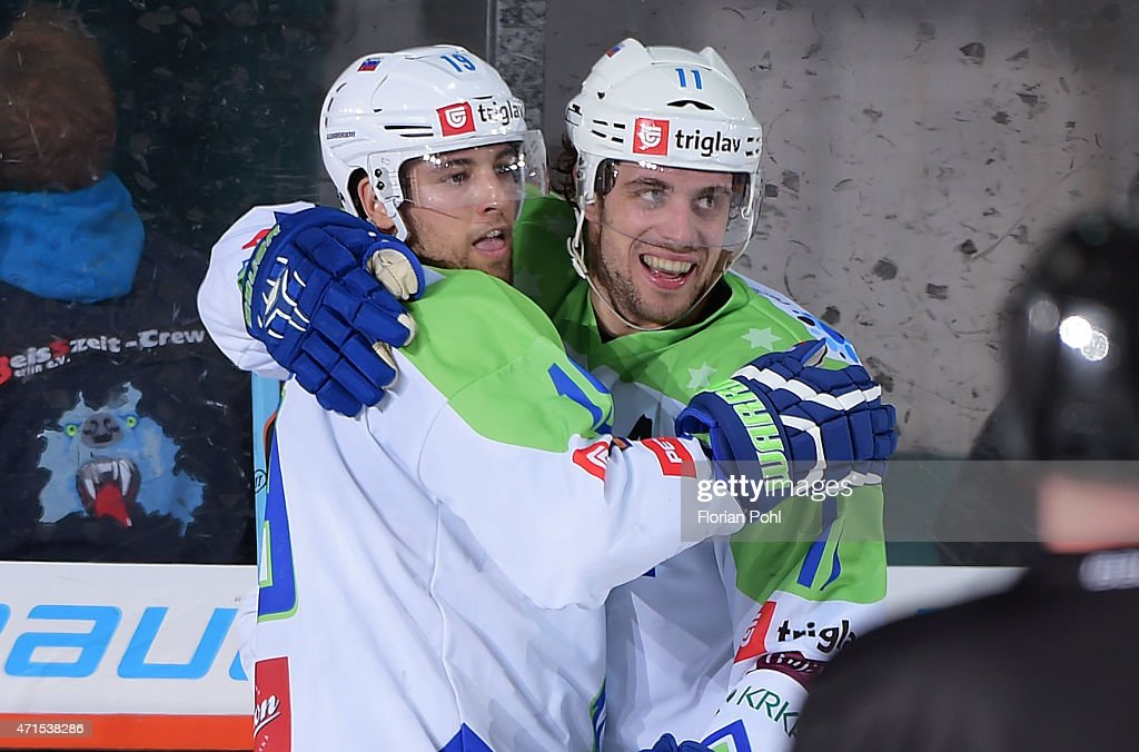 Ziga Pance and Anze Kopitar of Team Slovenia during the game between Germany and Slovenia on april 29, 2015 in Berlin, Germany.
