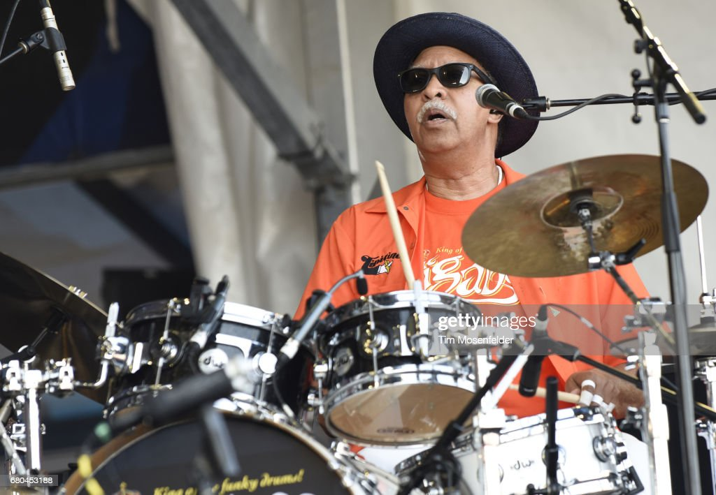 Zigaboo Modeliste of The Meters performs during the 2017 New Orleans Jazz & Heritage Festival at Fair Grounds Race Course on May 7, 2017 in New Orleans, Louisiana.