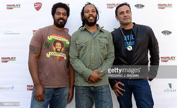 Ziggy and Robbie Marley children of legendary Reggae artist Bob Marley pose with director David Alexanian on arrival at Newcomb's Ranch Roadhouse up...