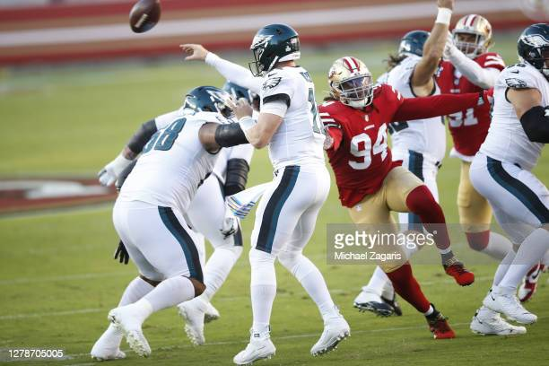 Ziggy Ansah of the San Francisco 49ers pressures the quarterback during the game against the Philadelphia Eagles at Levi's Stadium on October 4, 2020...