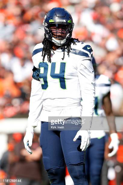 Ziggy Ansah of the Seattle Seahawks lines up for a play during the game against the Cleveland Browns at FirstEnergy Stadium on October 13, 2019 in...