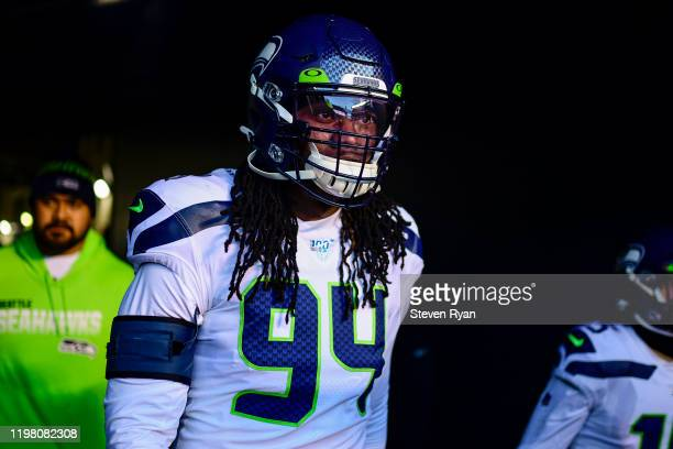 Ziggy Ansah of the Seattle Seahawks takes the field prior to the NFC Wild Card Playoff game against the Philadelphia Eagles at Lincoln Financial...