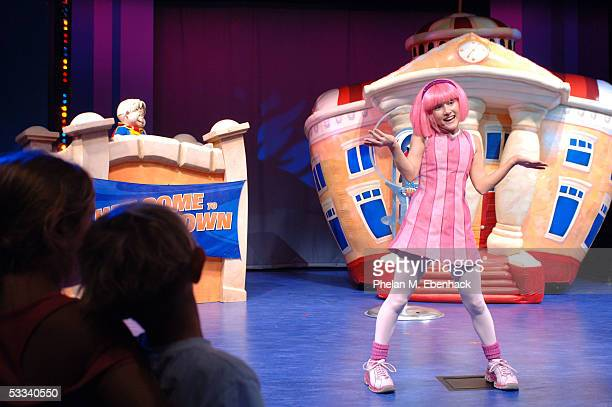 Ziggy left and Julianna Rose Mauriello from the Nick Jr series LazyTown celebrate the kickoff of the LazyTown Live Tour at the Nickelodeon Family...