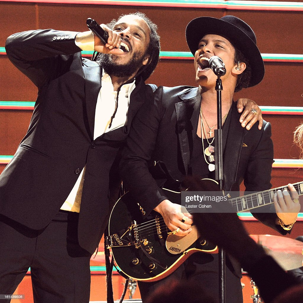 Ziggy Marley and Bruno Mars perform onstage during the 55th Annual GRAMMY Awards at STAPLES Center on February 10, 2013 in Los Angeles, California.