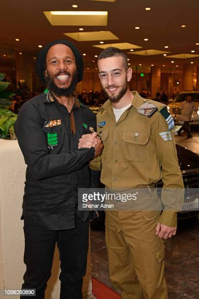 Ziggy Marley and IDF soldier attend Friends of The Israel Defense Forces Western Region Gala at The Beverly Hilton Hotel on November 1 2018 in...
