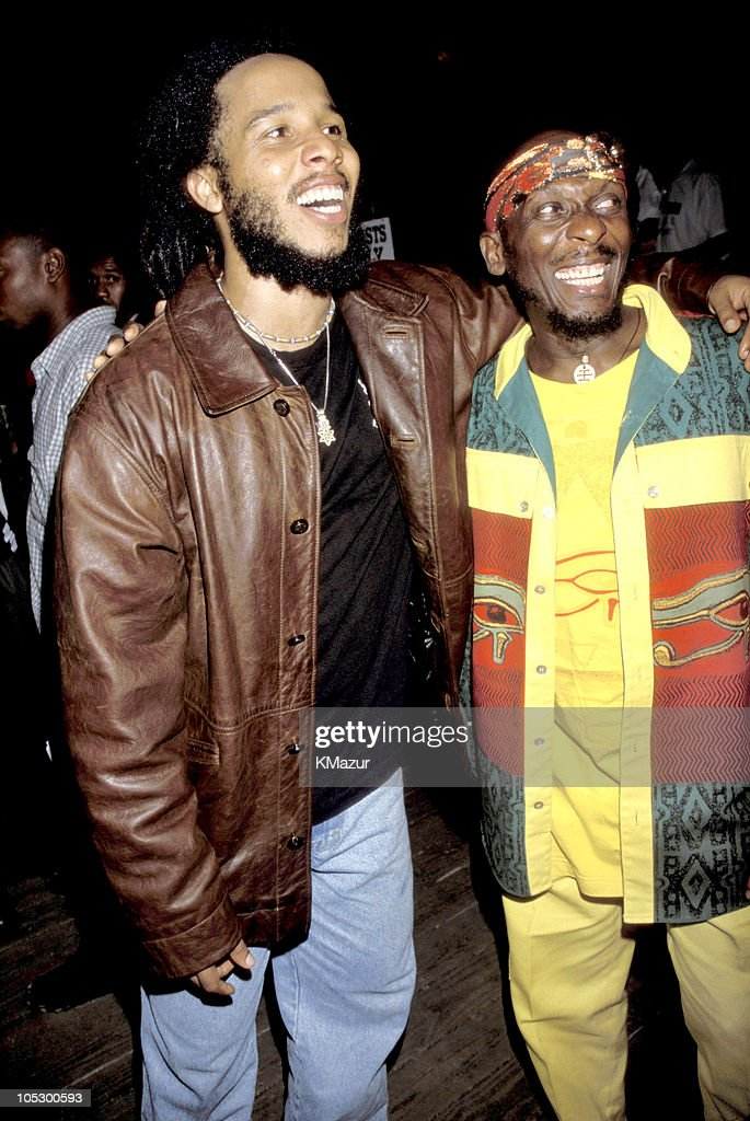 Ziggy Marley and Jimmy Cliff during TNT Bob Marley All Star Tribute at James Bond Beach in Oracabeca Beach, Jamaica, Jamaica.