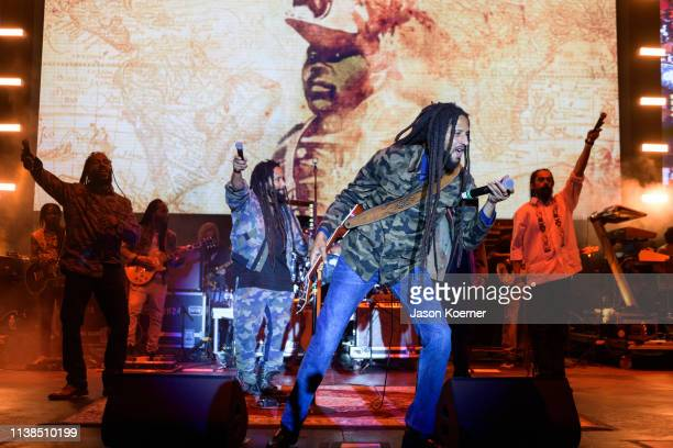 Ziggy Marley, Ky-Mani Marley, Julian Marley and Damian Marley perform on stage during Kaya Fest at Bayfront Park Amphitheater on April 20, 2019 in...