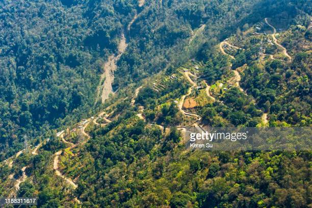 zigzag road in the mountain - sikkim stock pictures, royalty-free photos & images