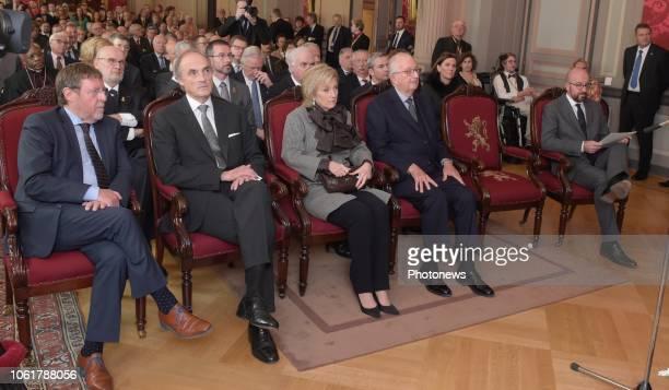Zijne Majesteit Koning Albert II en Hunne Koninklijke Hoogheden Prinses Astrid en Prins Lorenz wonen in het Paleis der Natie een plechtigheid bij...