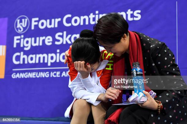 Zijun Li of China cries at the kiss and cry after the Ladies Free Skating during ISU Four Continents Figure Skating Championships Gangneung Test...