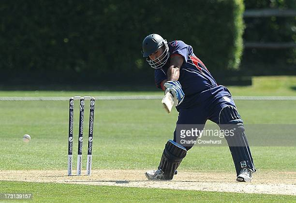 Zika Ali of France plays a cut during the European Division 1 Championship Group B match between Jersey and France at Preston Nomads Cricket Club on...