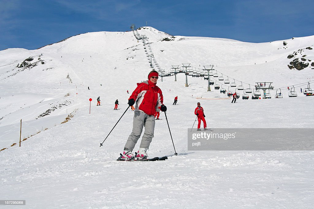 Zillertal, Austria - Woman on ski in the alps : Stock Photo