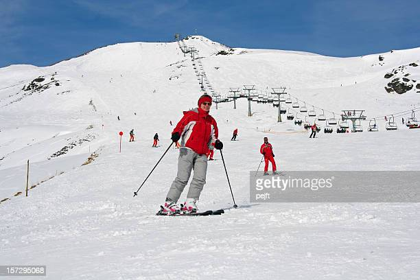 Zillertal, Austria - Woman on ski in the alps