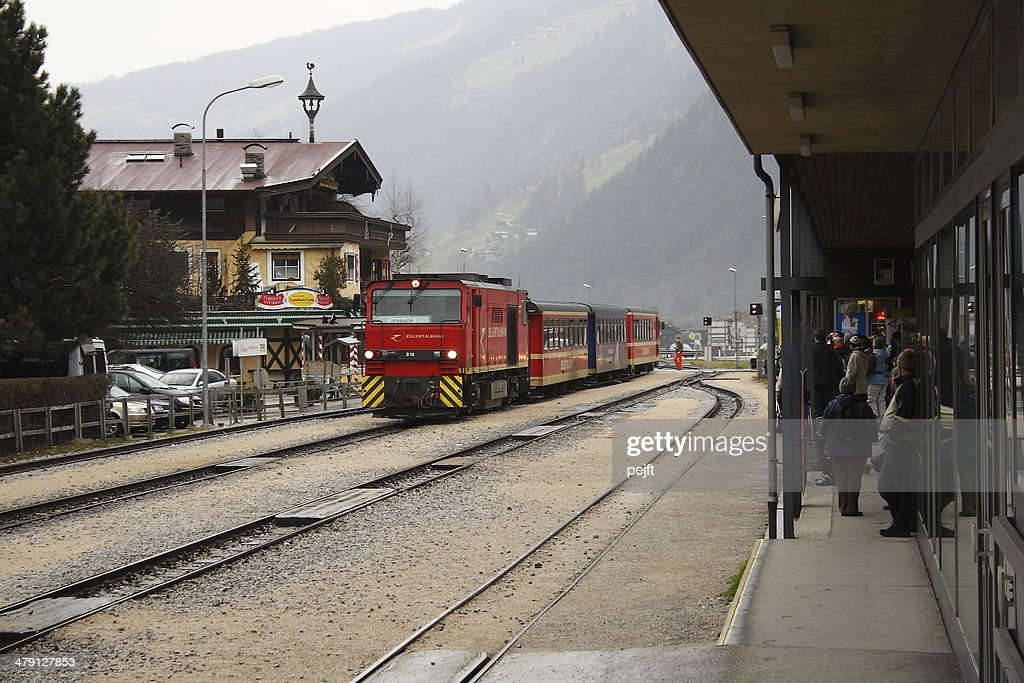 Zillertalbahn train arriving at Mayrhofen Station : Stock Photo