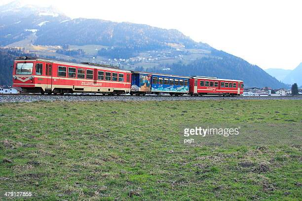 zillertalbahn train in zillertal valley - pejft stock pictures, royalty-free photos & images