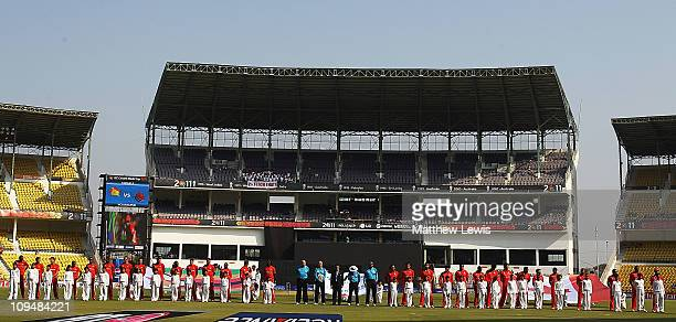Zimbabwe and Canada line up during the National Anthems ahead of the 2011 ICC World Cup Group A game between Canada and Zimbabwe at Vidarbha Cricket...