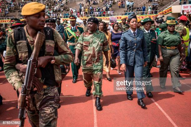 Zimbabwe Army Chief of Staff General Constantino Chiwenga arrives at the National Sport Stadium in Harare on November 24 2017 during an inauguration...