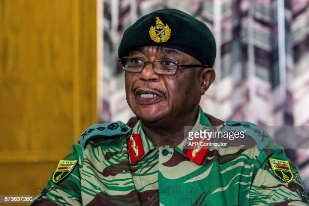 Zimbabwe Army General Constantino Chiwenga Commander of the Zimbabwe Defence Forces addresses a media conference held at the Zimbabwean Army...