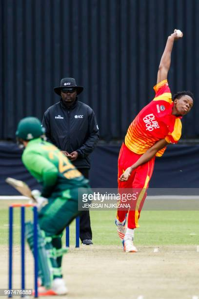 Zimbabwe bowler Blessing Muzarabani in action during the first of a 5 match ODI series cricket match between Pakistan and Zimbabwe at Queens Sports...