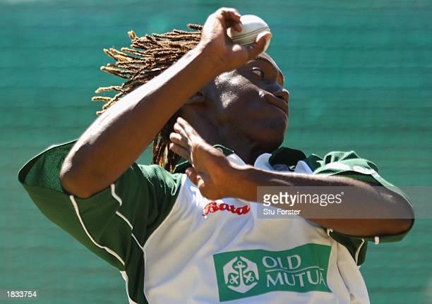 Zimbabwe bowler Henry Olonga, during the Zimbabwe nets prior to tommorows Super Six game between Zimbabwe and New Zealand, at Goodyear Park,...