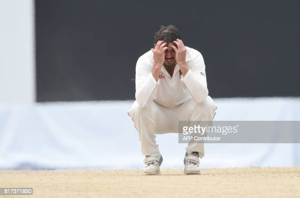 Zimbabwe cricket captain Graeme Cremer reacts during the final day of a oneoff Test match between Sri Lanka and Zimbabwe at the R Premadasa Cricket...