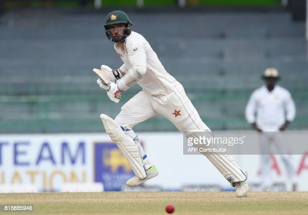 Zimbabwe cricket captain Graeme Cremer run between the wickets during the fourth day of the only oneoff Test match between Sri Lanka and Zimbabwe at...