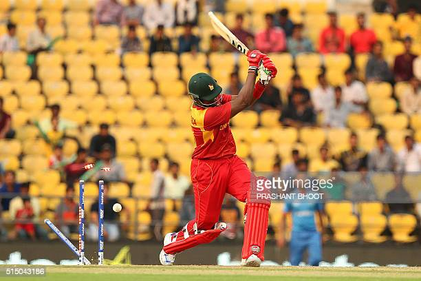 Zimbabwe cricket captain Hamilton Masakadza is bowled by Hamid Hassan during the T20 World Cup cricket match between Zimbabwe and Afghanistan at the...