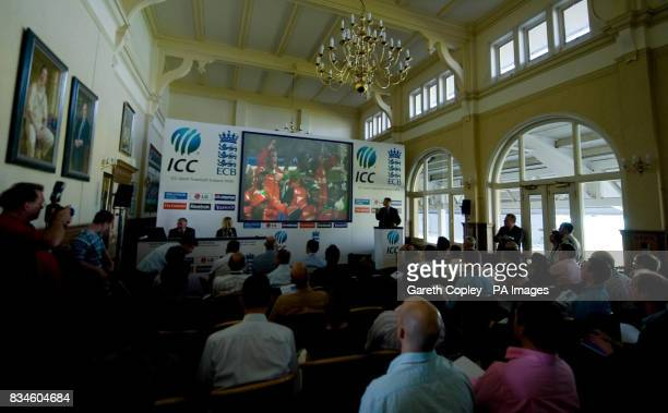 Zimbabwe cricket team are displayed a big screen as part of a presentation during a press conference to launch the fixtures and ticket details for...