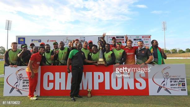 Zimbabwe cricket team pose for a photograph after winning the ODI series 32 against the host Sri Lankan team after the 5th One Day International...