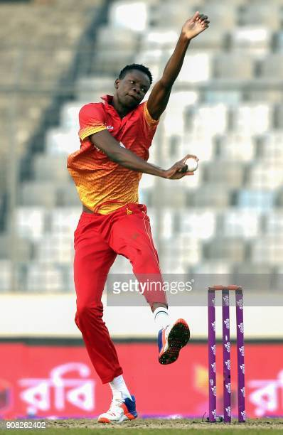 Zimbabwe cricketer Blessing Muzarabani bowls during the Fourth One Day International cricket match in the TriNations Series between Sri Lanka and...