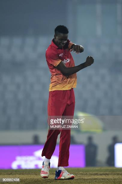 Zimbabwe cricketer Blessing Muzarabani cerebrates after the dismissal of the Sri Lanka cricket captain Angelo Mathews during the second One Day...