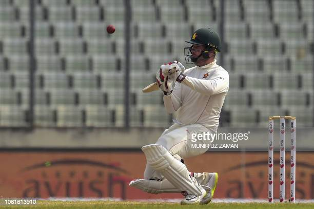 Zimbabwe cricketer Brendan Taylor plays a shot during the fifth day of the second Test cricket match between Bangladesh and Zimbabwe at the...