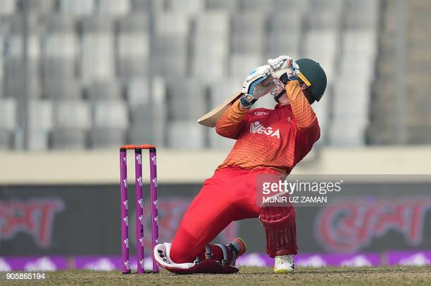 Zimbabwe cricketer Brendan Taylor plays a shot during the second One Day International cricket match in the TriNations Series between Sri Lanka and...