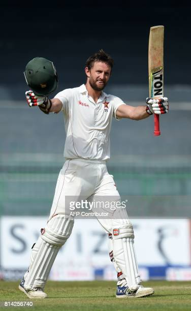 Zimbabwe cricketer Craig Ervine celebrates after scoring a century during the first day of the only oneoff Test match between Sri Lanka and Zimbabwe...