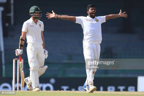 Zimbabwe cricketer Craig Ervine looks on as Sri Lanka's Lahiru Kumara appeals unsuccessfully during the first day of the only Test cricket match...
