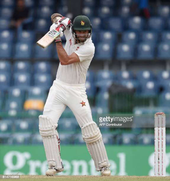 Zimbabwe cricketer Craig Ervine plays a shot during the second day of the only oneoff Test match between Sri Lanka and Zimbabwe at the R Premadasa...