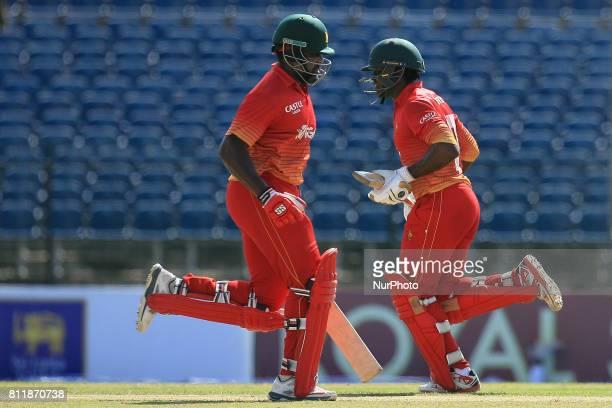 Zimbabwe cricketer Hamilton Masakadza and Solomon Mire run between the wickets during the 5th One Day International cricket match between Sri Lanka...