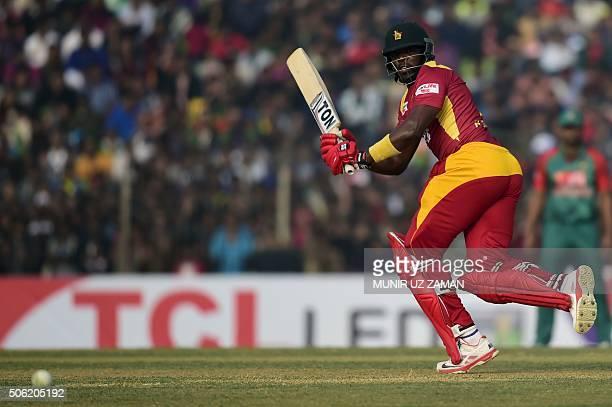 Zimbabwe cricketer Hamilton Masakadza plays a shot during the fourth T20 cricket match between Bangladesh and Zimbabwe at the Sheikh Abu Naser...