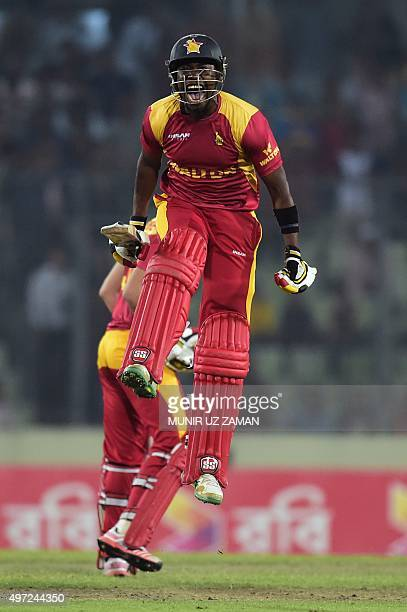 Zimbabwe cricketer Neville Madziva reacts after winning the second T20 cricket match between Bangladesh and Zimbabwe at the Shere Bangla National...