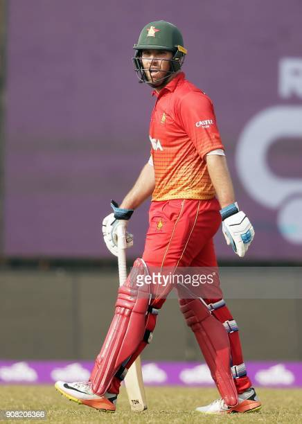Zimbabwe cricketer R Taylor reacts after being dismissed during the fourth One Day International cricket match of the TriNations Series between Sri...