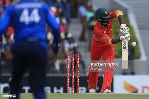 Zimbabwe cricketer Solomon Mire plays a shot during the 4th One Day International cricket matcth between Sri Lanka and Zimbabwe at Mahinda Rajapaksa...