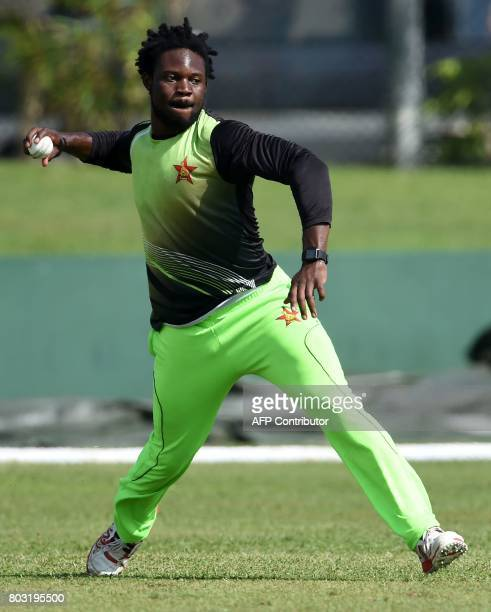 Zimbabwe cricketer Solomon Mire throws a ball during a practice session at during a practice session at Galle International Cricket Stadium in Galle...