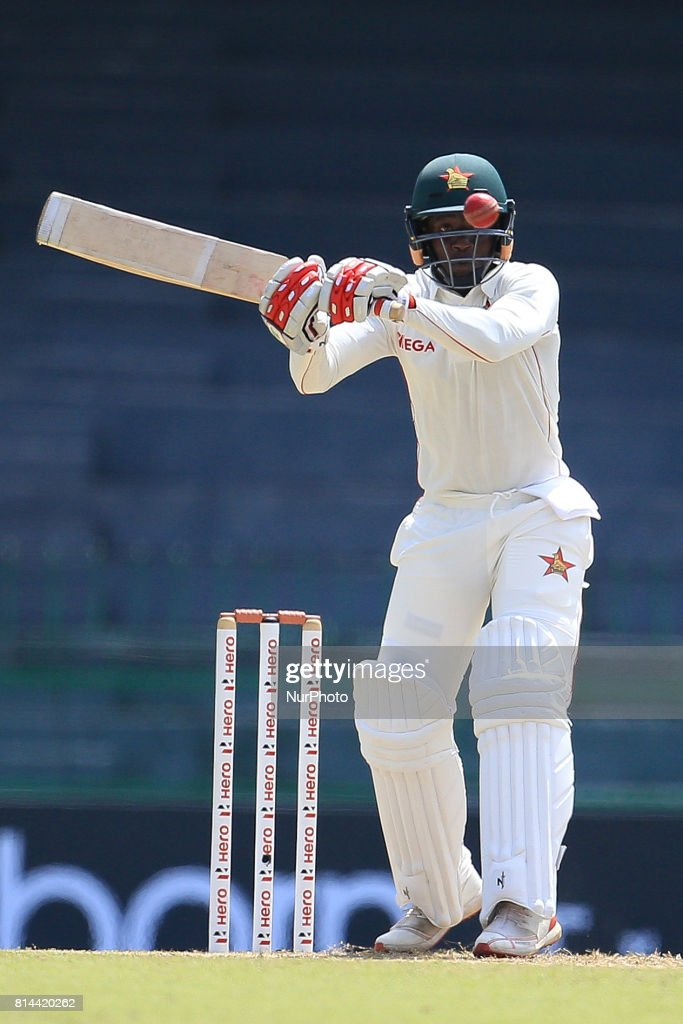 Zimbabwe cricketer Tarisai Musakanda plays a shot during the first day of the only Test cricket matcth between Sri Lanka and Zimbabwe at R Premadasa International Cricket Stadium,in the capital city, Colombo, Sri Lanka on Friday 14 th July 2017