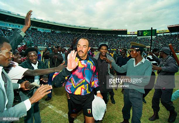 Zimbabwe goalkeeper Bruce Grobbelaar acknowledges the applause after the FIFA World Cup Africa group C qualifying match between Zimbabwe and Cameroon...