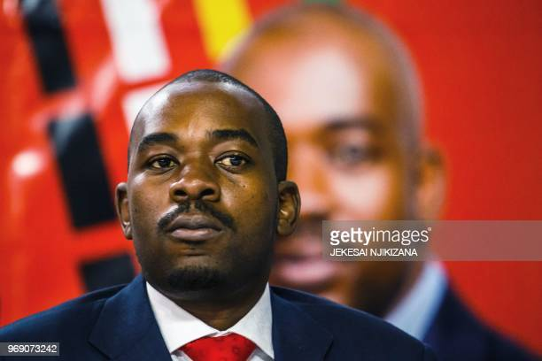 Zimbabwe main opposition party Movement for Democratic Change President Nelson Chamisa looks on during the launch of his party's manifesto ahead of...